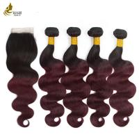 Buy cheap 4 Bundles Colored Virgin Hair Extensions T1B / 99J With Closure Body Wave product