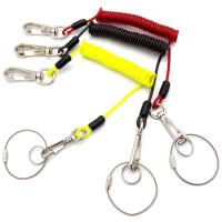 Buy cheap Plastic Coated Coiled Wire Cable Carabiner Key Chain Lanyard Hight Tension Retractable from wholesalers