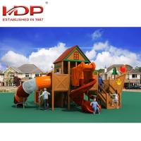 Buy cheap Children Comfortable Wooden Playground Equipment , Wooden Outdoor Playground product