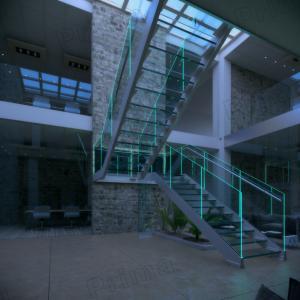 Buy cheap LED Light U Shape Glass Staircase product
