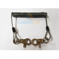 Buy cheap Translucent Black Spring Coil Lanyard , Clip 2PCS Heavy Duty Steel Wire Lanyard product