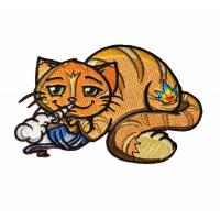 Buy cheap Animal Cat Birds Custom Velcro Patches Woven Embroidery Handmade product