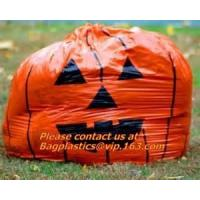 China Fancy Gaint Halloween Leaf Trash Bag, Colorful Plastic Leaf Trash Bag For Advertisement, Plastic Die Cut Bags For Hallow on sale