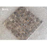 China Dark Emperador Marble Mosaic Tile Sheets Polished 121 Pcs Scratch Resistant on sale
