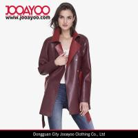 Buy cheap Women Latest Design Coat Color Block Red Faux Leather Vintage Trench Coat product