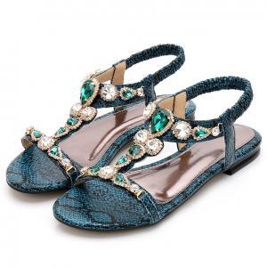 Soft Beach Flat Sandals Wear Resistant , Crystal Bohemia Flip Flops For Women