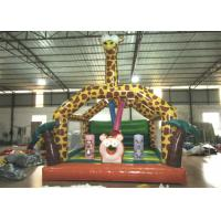 Amusement Park Custom Made Inflatables Giraffe Bounce Combo Enviroment - Friendly