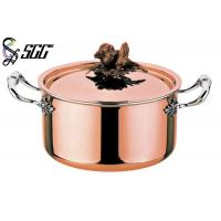 Quality Polished Round European Copper Pot 3-Ply Cookware For Restaurants for sale