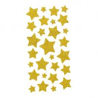 Buy cheap Large And Small Stars Shapes Stickers Gold Glitter With 28 pcs Removable Holiday Gift Stickers product