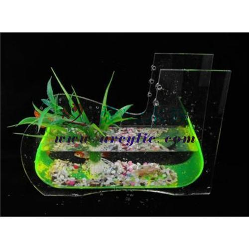 Mini built in filter acrylic fish tank aquarium with led for Fish tank with built in filter