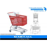 China Red Color Plastic Shopping Cart With Four Wheel 125L For Grocery Store on sale