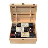 Buy cheap 6 Bottles Natural Pine Wine Box Hand Made 360*265*210 Mm With FSC Certificate product
