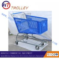 China 200 Liters Heavy Duty Plastic Shopping Carts , 4 Wheel Shopping Trolley on sale