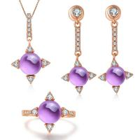Buy cheap Beautiful 925 Silver Gemstone Jewelry Set Amethyst Ring Earrings Pendant Necklace product
