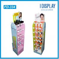 China department store cardboard cosmetic floor display stand with plastic hooks for lipsticks on sale