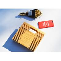 Vintage Rectangle Bamboo Evening Clutch Bags Box Shaped For Summer Vacation