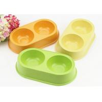 Buy cheap Anti Slip Double Plastic Pet Bowls Bamboo Fiber Middle Size With Custom Color product