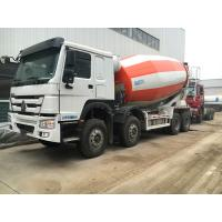 Buy cheap 266-371hp Euro2 Euro3 HOWO A7 Truck Concrete Mixer 8x4 10cbm In Red White Color product