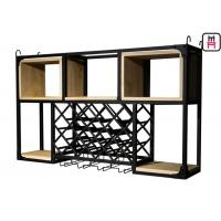 Buy cheap Loft Style Hanging Metal Wine Cabinet , Free Standing Wine Rack L120 * W25 * H70cm from wholesalers