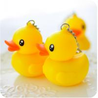 China Key chain plastic rubber material yellow duck keychain sound & flash light keychain on sale