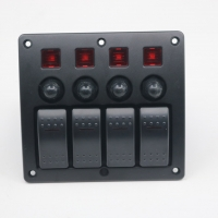 Buy cheap Auto car marine 12V 4 gang Red LED on-off rocker Switch Panel with circuit breaker fuse product