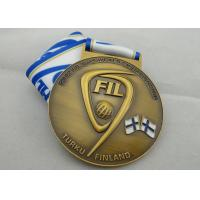 Buy cheap FIL U-19 Copper / Zinc Alloy / Pewter World Championship Ribbon Medals with Die Casting product