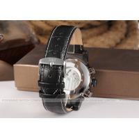 Quality Jaragr New Fashion Mens Automatic Watch Black Leather With White Dial for sale
