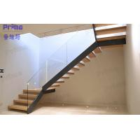 Buy cheap Meet International Standard Invisible Beam Wood Glass Staircase product