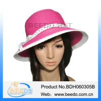 Buy cheap Round top beautiful women wide brim paper summer straw hat product