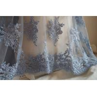 Buy cheap Pale Blue Beaded 3D Flower Lace Fabric By The Yard For Wedding Dress product