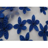 49 - 50 Width Blue Flower Embroidered Stretch Lace Fabric Dress Pure Polyester