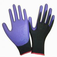 Buy cheap Nitrile Gloves / 13 Gauge Polyester Liner Nitrile Dipped Worling Glove product