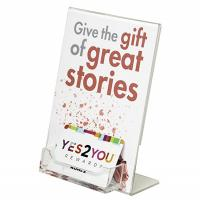 China 5X 7 Lucite Plexiglass Acrylic Slanted Insert Sign Holder With Business Card Pocket on sale