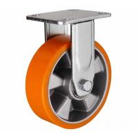 Buy cheap 8 inch Orange color Fixed aluminium core PU wheel for heavy duty caster from wholesalers