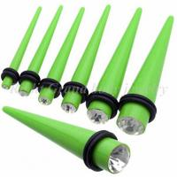 Light Green 10mm, 12mm Gem Ear Stretchers Tapers / Ear ... Ear Stretchers 10mm