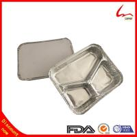 Buy cheap Rice Cooked Rectangular 3 Compartments Aluminum Foil Food Storage Tray from wholesalers