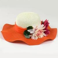 Buy cheap Mixed Color Wide Brim Straw Beach Hat For Summer Nylon Floral Strips Available product