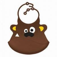 Quality Customized Silicone Babies' Bib with Animal-shaped Design for sale