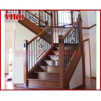 Buy cheap Solid Wood  Staircase VK63S  Tread American Oak ,Railing tempered glass, Handrail b eech Stringer,carbon product