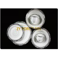 Silver Colour Decal 20 Pcs Round  Ceramic Dinnerware Sets Suitable For Home Table