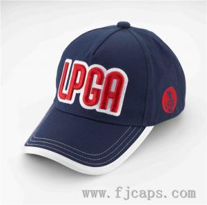Buy cheap 【FUJUE】 NAVY 5 panel LPGA golf caps, LPGA golf hats,big logo embroidery sports hats OEM product