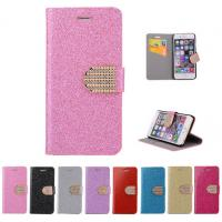 China Glitter PU leather wallet Case For iPhone 4 5s 6 plus 7 SAMSUNG galaxy s5 s4 S6 S7 NOTE 7 3 5 wholesale