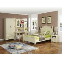 Buy cheap Rubber Wood made Kids/Children/Single white bedroom 1.2/1.4M small bed Space saving furniture with Study table/bookcase product
