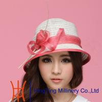 Buy cheap Red / Beige  / Black  / Yellow womens straw fedora hats for travel Occasion product