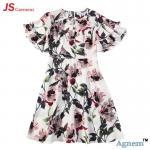 Buy cheap 89D17384 Fashion Round Neck Lotus Leaf Sleeve High Waist Floral Print Linen Dress Women product
