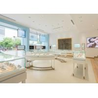 Perfect Glass Jewelry Display Cases Retail Store Stainless Steel Wooden Material