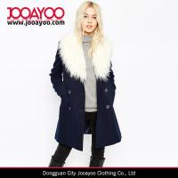 Buy cheap 2016 Faux Fur Collar Double Breasted Overcoat Women Winter Pea Coat with Faux Fur Trim product