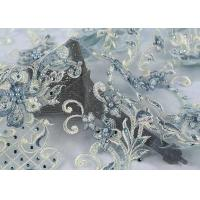 China Fashion Embroidery Mesh Lace Fabric Hand Beaded Plain Style For Wedding on sale