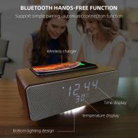 Buy cheap Wireless Charging Bluetooth Stereo Speakers Alarm Clock Room Temperature Display product