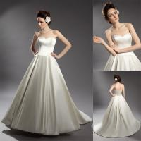 Silk Touched Satin Sweep Train Wedding Dresses / Ladies Sleeveless Ball Gowns